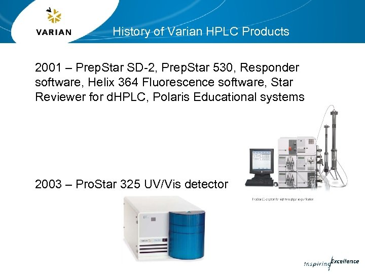History of Varian HPLC Products 2001 – Prep. Star SD-2, Prep. Star 530, Responder