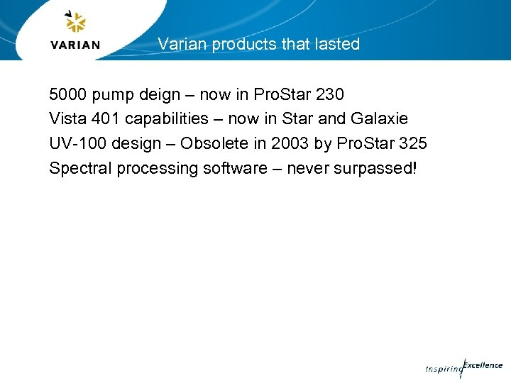 Varian products that lasted 5000 pump deign – now in Pro. Star 230 Vista