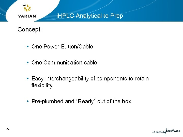 i. HPLC Analytical to Prep Concept: • One Power Button/Cable • One Communication cable