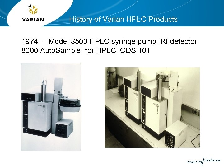 History of Varian HPLC Products 1974 - Model 8500 HPLC syringe pump, RI detector,