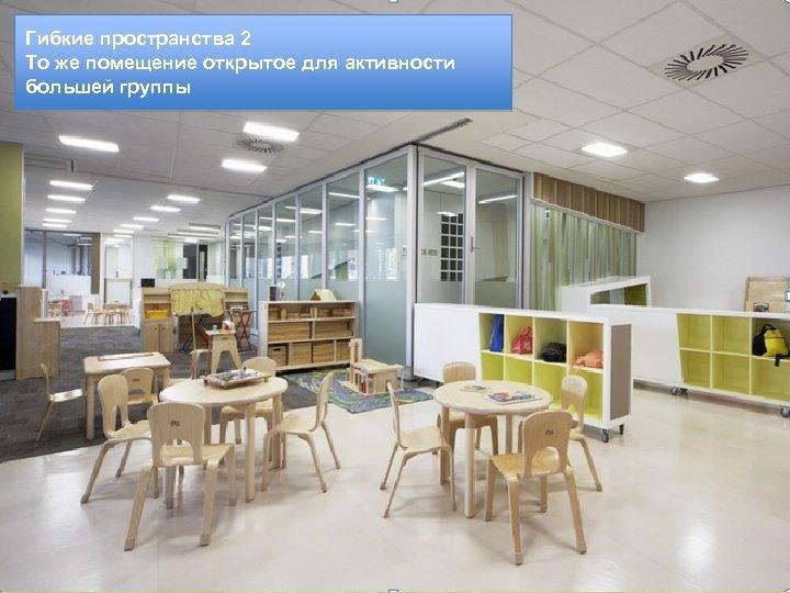 Гибкие пространства 2 То же помещение открытое для активности большей группы