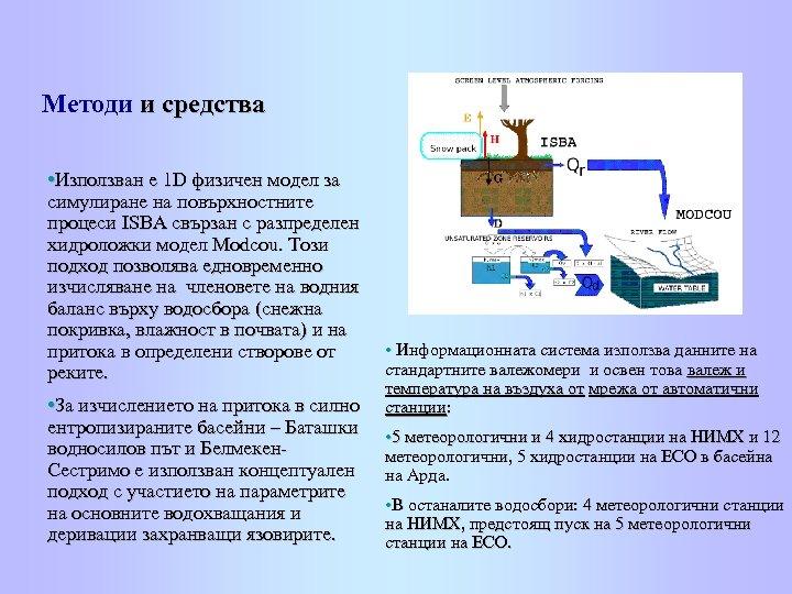 Методи и средства • Използван е 1 D физичен модел за симулиране на повърхностните