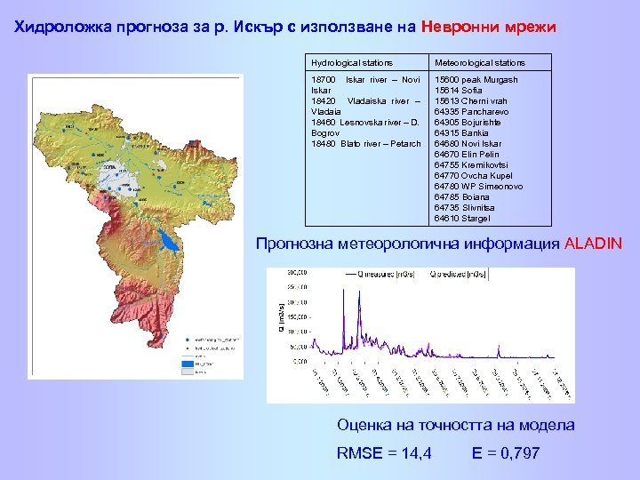 Хидроложка прогноза за р. Искър с използване на Невронни мрежи Hydrological stations Meteorological stations