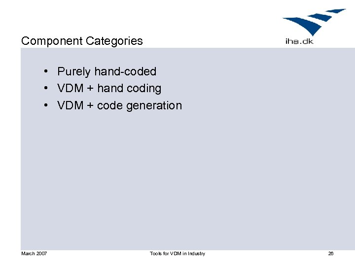 Component Categories • Purely hand-coded • VDM + hand coding • VDM + code