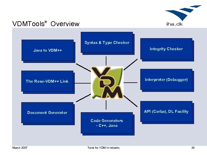 VDMTools® Overview Syntax & Type Checker Java to VDM++ Integrity Checker The Rose-VDM++ Link