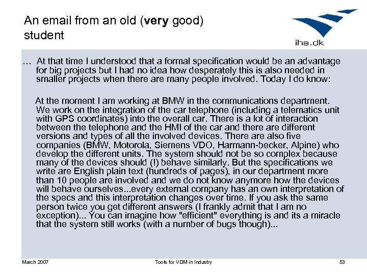 An email from an old (very good) student … At that time I understood
