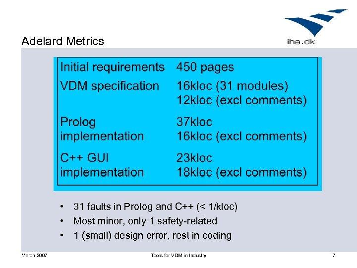 Adelard Metrics • 31 faults in Prolog and C++ (< 1/kloc) • Most minor,