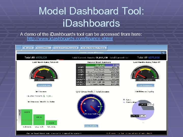 Model Dashboard Tool: i. Dashboards A demo of the i. Dashboards tool can be