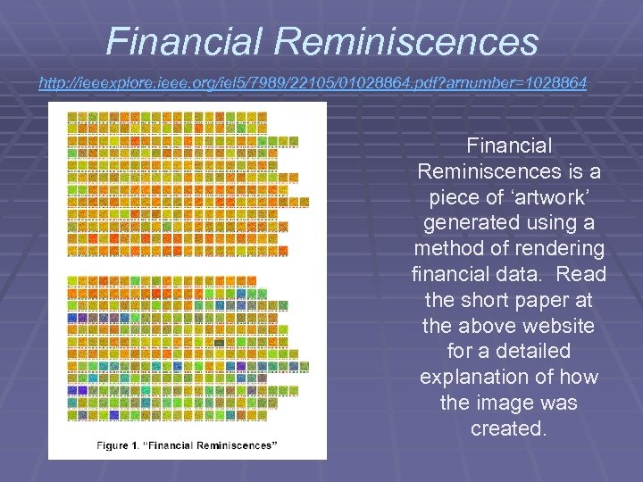 Financial Reminiscences http: //ieeexplore. ieee. org/iel 5/7989/22105/01028864. pdf? arnumber=1028864 Financial Reminiscences is a piece