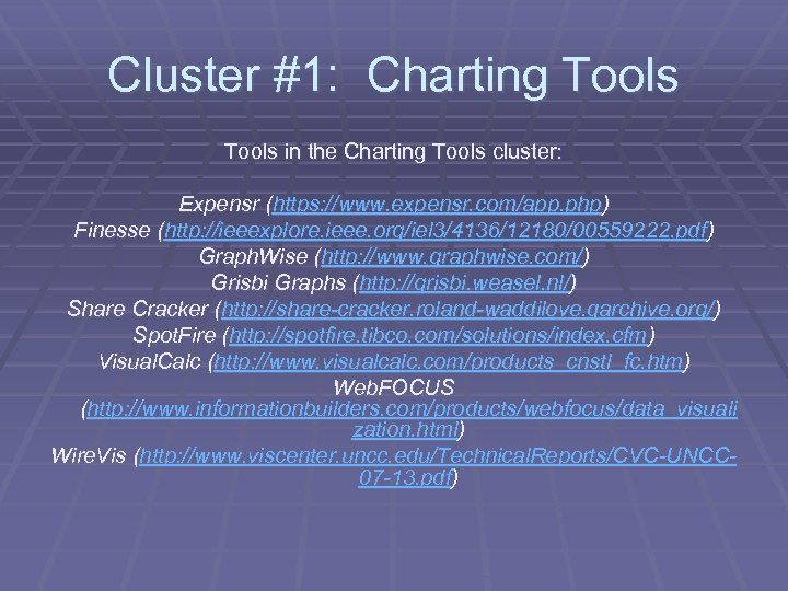 Cluster #1: Charting Tools in the Charting Tools cluster: Expensr (https: //www. expensr. com/app.