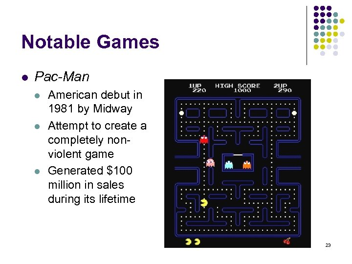 Notable Games l Pac-Man l l l American debut in 1981 by Midway Attempt