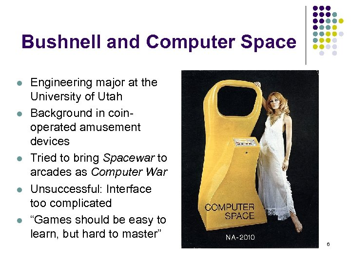Bushnell and Computer Space l l l Engineering major at the University of Utah