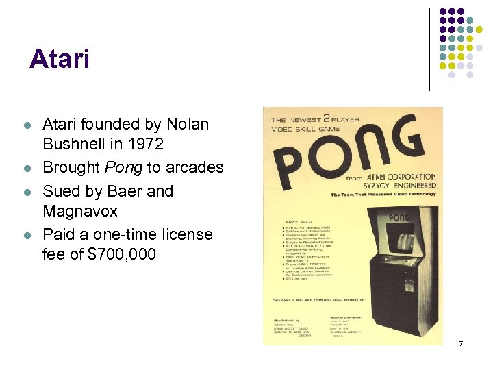 Atari l l Atari founded by Nolan Bushnell in 1972 Brought Pong to arcades