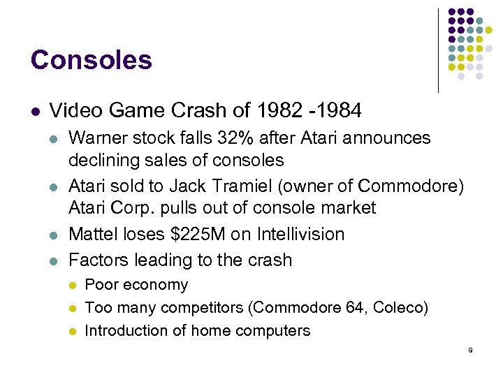 Consoles l Video Game Crash of 1982 -1984 l l Warner stock falls 32%