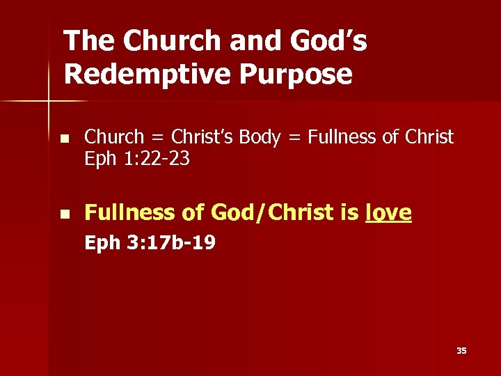 The Church and God's Redemptive Purpose n n Church = Christ's Body = Fullness