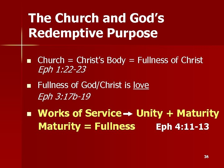 The Church and God's Redemptive Purpose n Church = Christ's Body = Fullness of