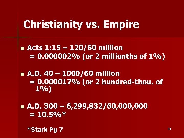 Christianity vs. Empire n Acts 1: 15 – 120/60 million = 0. 000002% (or