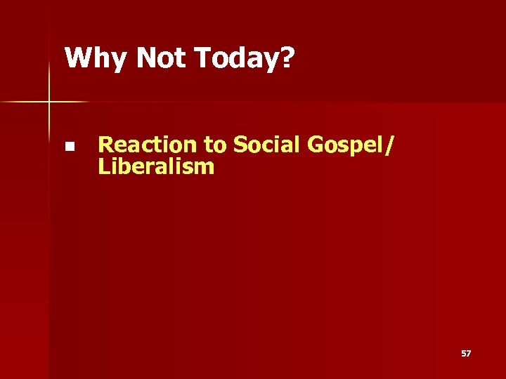 Why Not Today? n Reaction to Social Gospel/ Liberalism 57