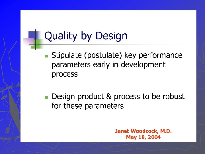 Janet Woodcock, M. D. May 19, 2004