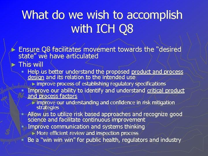 What do we wish to accomplish with ICH Q 8 Ensure Q 8 facilitates