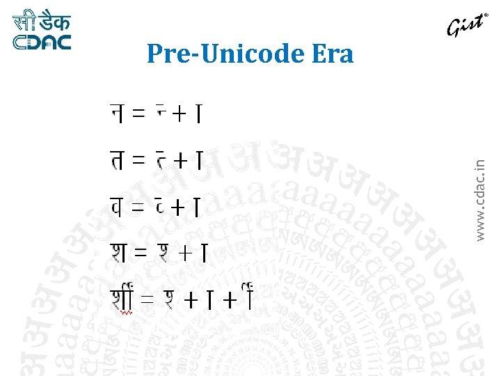 www. cdac. in Pre-Unicode Era