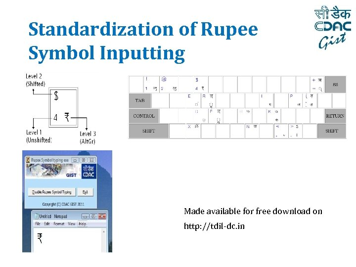 Standardization of Rupee Symbol Inputting Made available for free download on http: //tdil-dc. in
