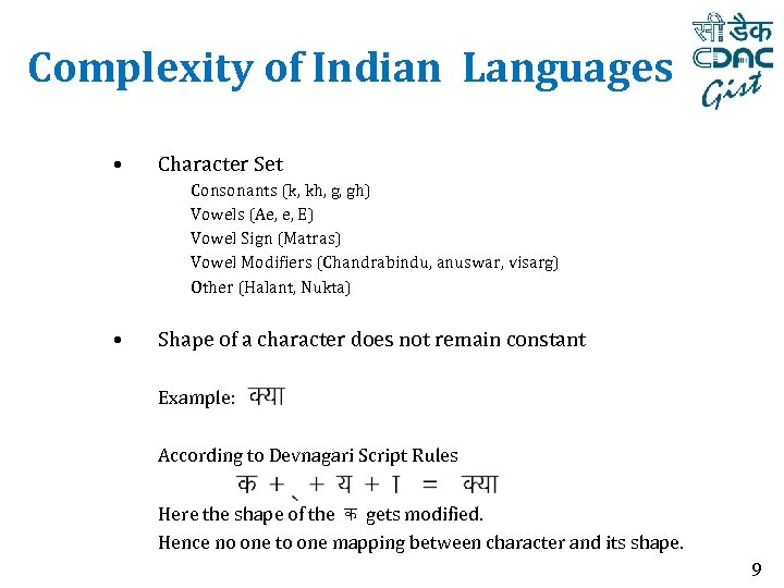 Complexity of Indian Languages • Character Set Consonants (k, kh, g, gh) Vowels (Ae,