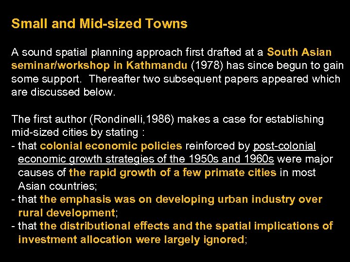 Small and Mid-sized Towns A sound spatial planning approach first drafted at a South