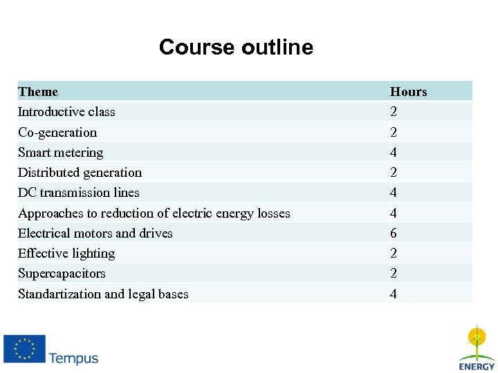 Course outline Theme Introductive class Co-generation Smart metering Distributed generation DC transmission lines Approaches