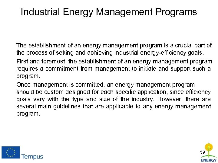 Industrial Energy Management Programs The establishment of an energy management program is a crucial