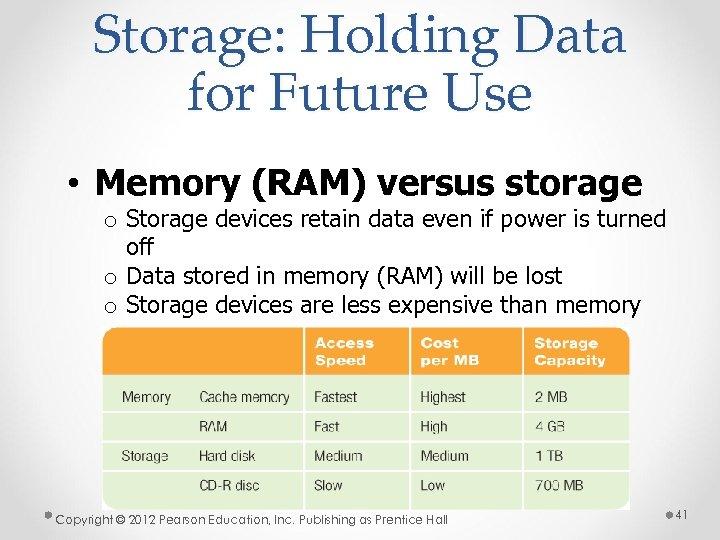 Storage: Holding Data for Future Use • Memory (RAM) versus storage o Storage devices