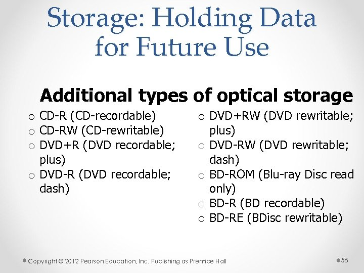Storage: Holding Data for Future Use Additional types of optical storage o CD-R (CD-recordable)
