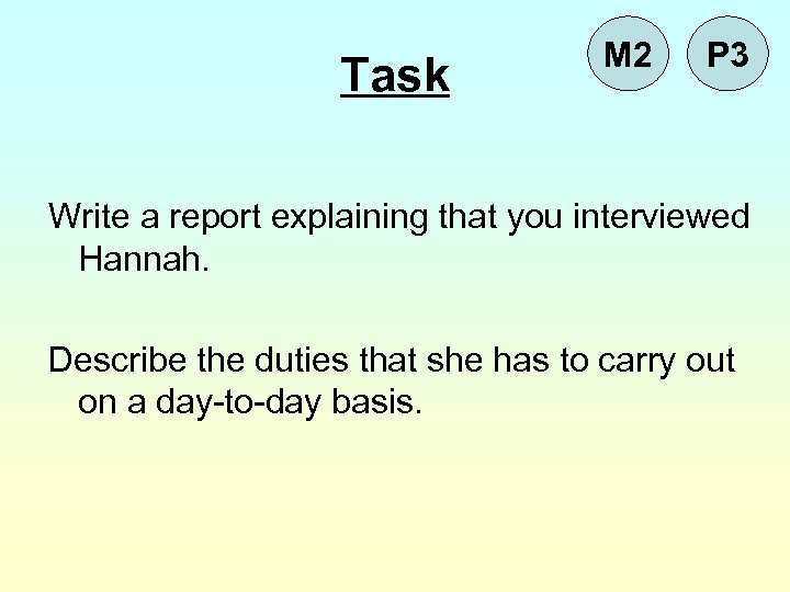 Task M 2 P 3 Write a report explaining that you interviewed Hannah. Describe