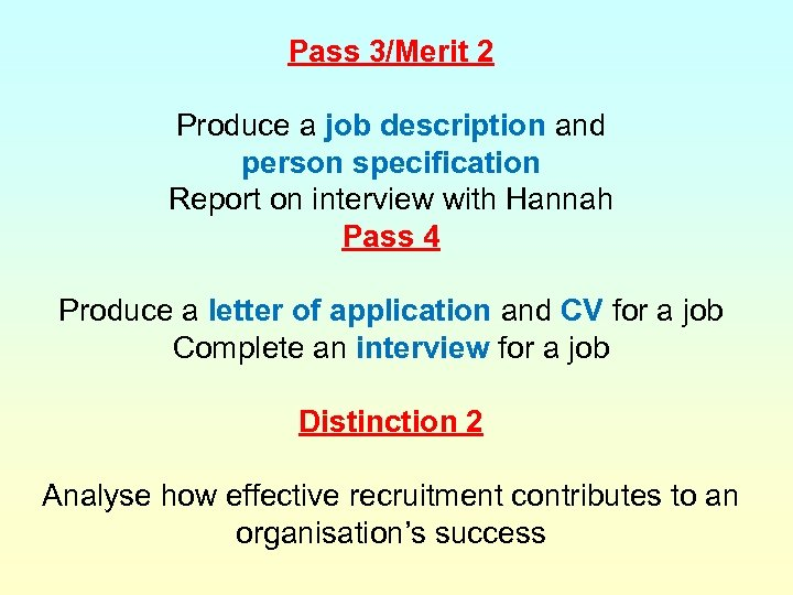 Pass 3/Merit 2 Produce a job description and person specification Report on interview with