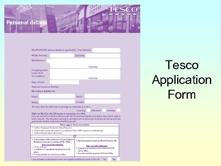 Tesco Application Form