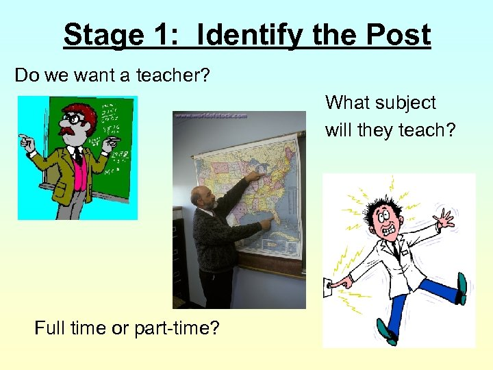 Stage 1: Identify the Post Do we want a teacher? What subject will they