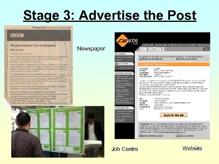 Stage 3: Advertise the Post Newspaper Job Centre Website