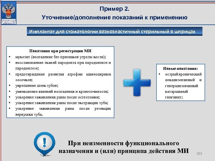 Пример 2. Уточнение/дополнение показаний к применению Имплантат для стоматологии вязкоэластичный стерильный в шприцах •