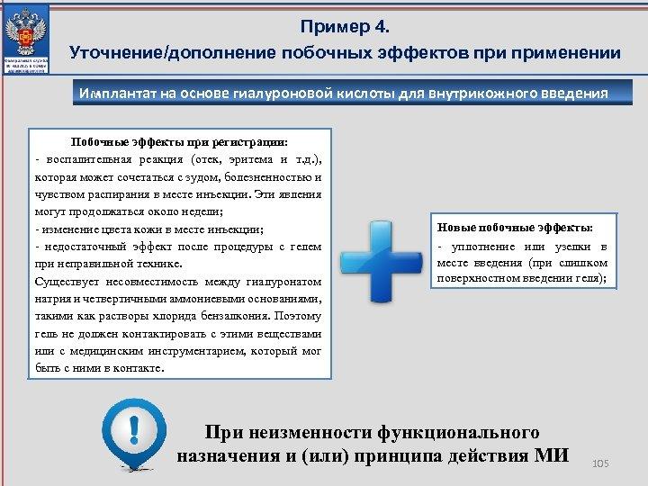 Пример 4. Уточнение/дополнение побочных эффектов применении Имплантат на основе гиалуроновой кислоты для внутрикожного введения