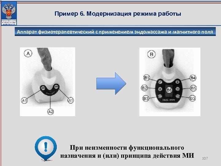 Пример 6. Модернизация режима работы Аппарат физиотерапевтический с применением эндомассажа и магнитного поля При