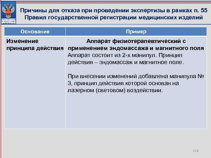 Причины для отказа при проведении экспертизы в рамках п. 55 Правил государственной регистрации медицинских