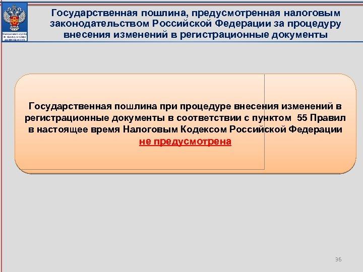 Государственная пошлина, предусмотренная налоговым законодательством Российской Федерации за процедуру внесения изменений в регистрационные документы