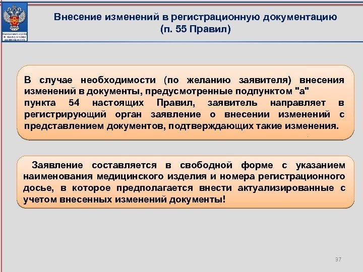 Внесение изменений в регистрационную документацию (п. 55 Правил) В случае необходимости (по желанию заявителя)