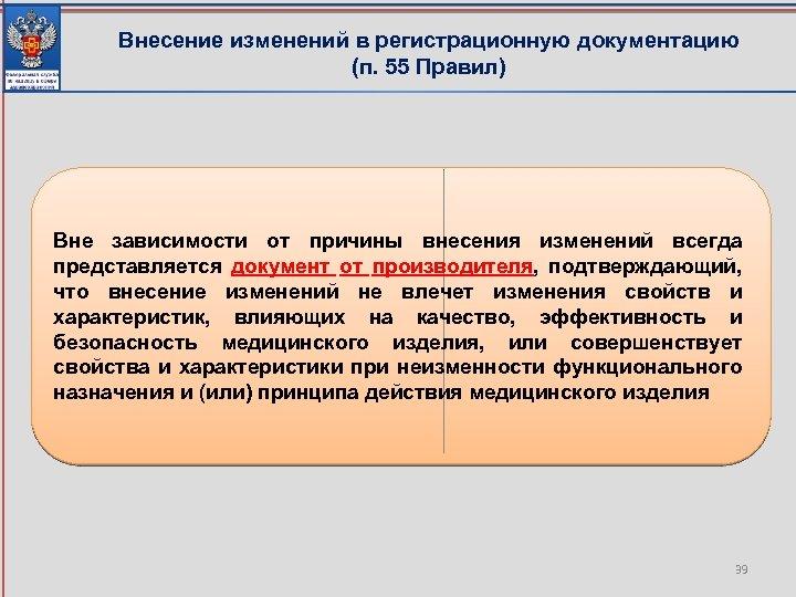Внесение изменений в регистрационную документацию (п. 55 Правил) Вне зависимости от причины внесения изменений