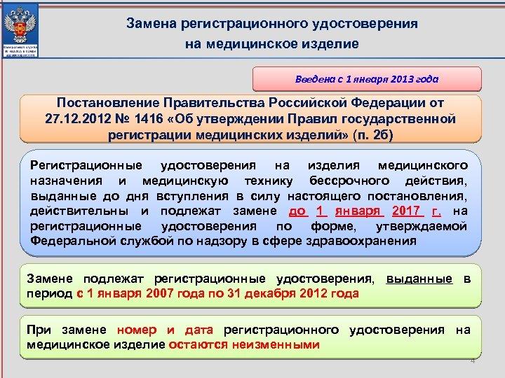 Замена регистрационного удостоверения на медицинское изделие Введена с 1 января 2013 года Постановление Правительства