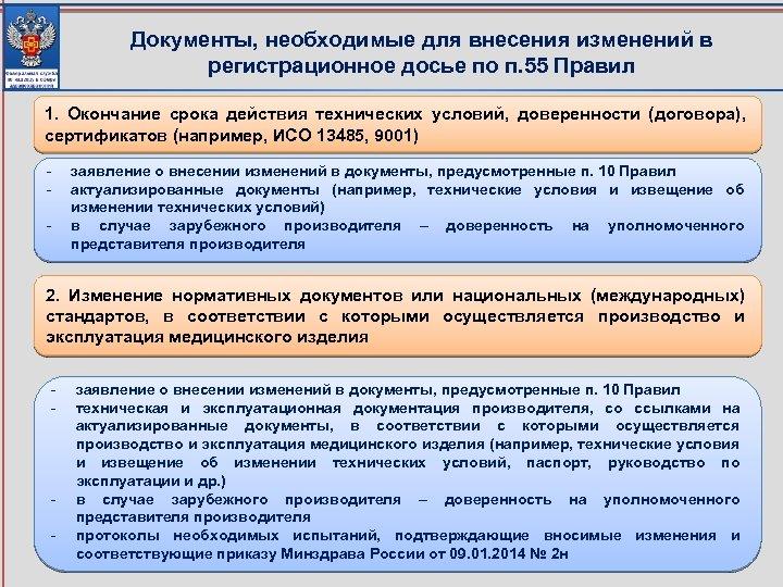 Документы, необходимые для внесения изменений в регистрационное досье по п. 55 Правил 1. Окончание