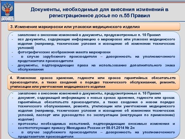 Документы, необходимые для внесения изменений в регистрационное досье по п. 55 Правил 3. Изменение