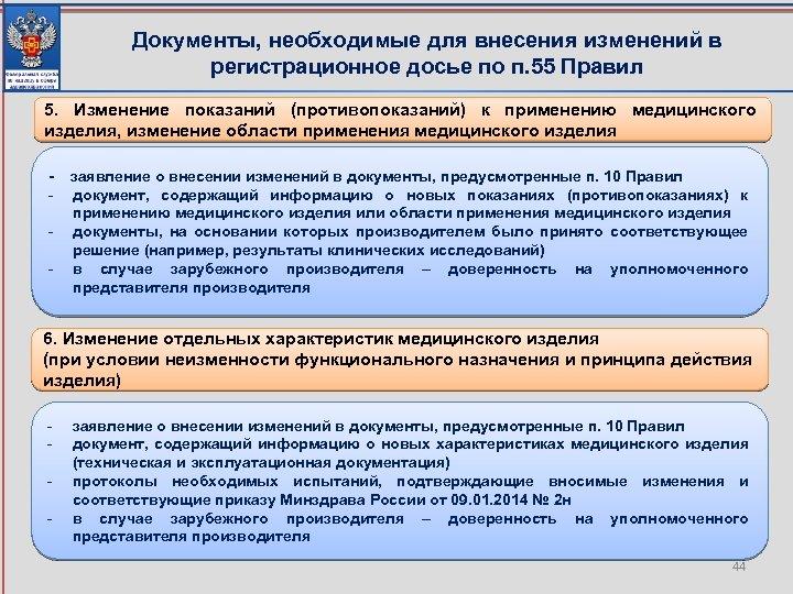 Документы, необходимые для внесения изменений в регистрационное досье по п. 55 Правил 5. Изменение