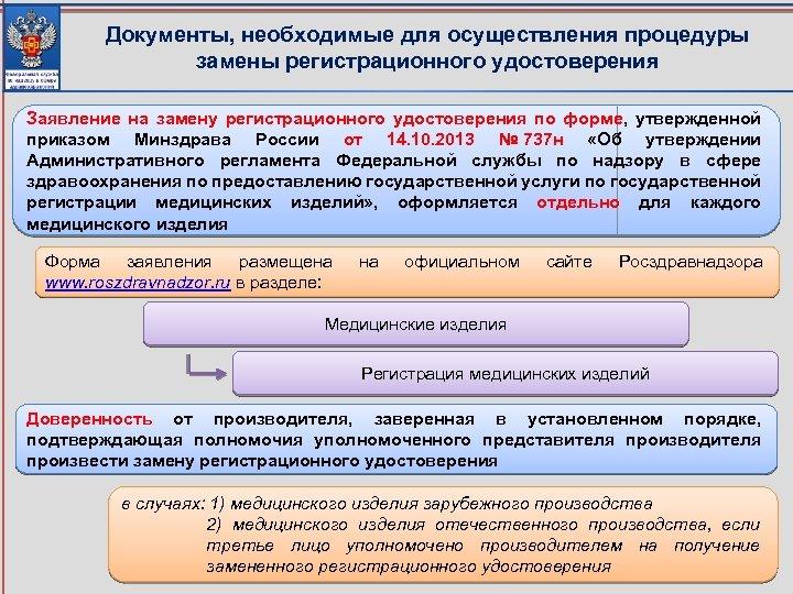 Документы, необходимые для осуществления процедуры замены регистрационного удостоверения Заявление на замену регистрационного удостоверения по
