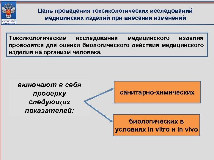 Цель проведения токсикологических исследований медицинских изделий при внесении изменений Токсикологические исследования медицинского изделия проводятся
